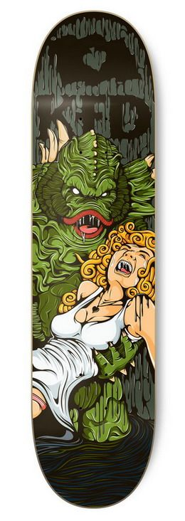 KFD wanted a detailed illustration of The Creature From The Black Lagoon, for one of their skateboard decks. The scales, hair, and dripping black liquid came together to make this deck really intricate. by Tokyo-Go-Go