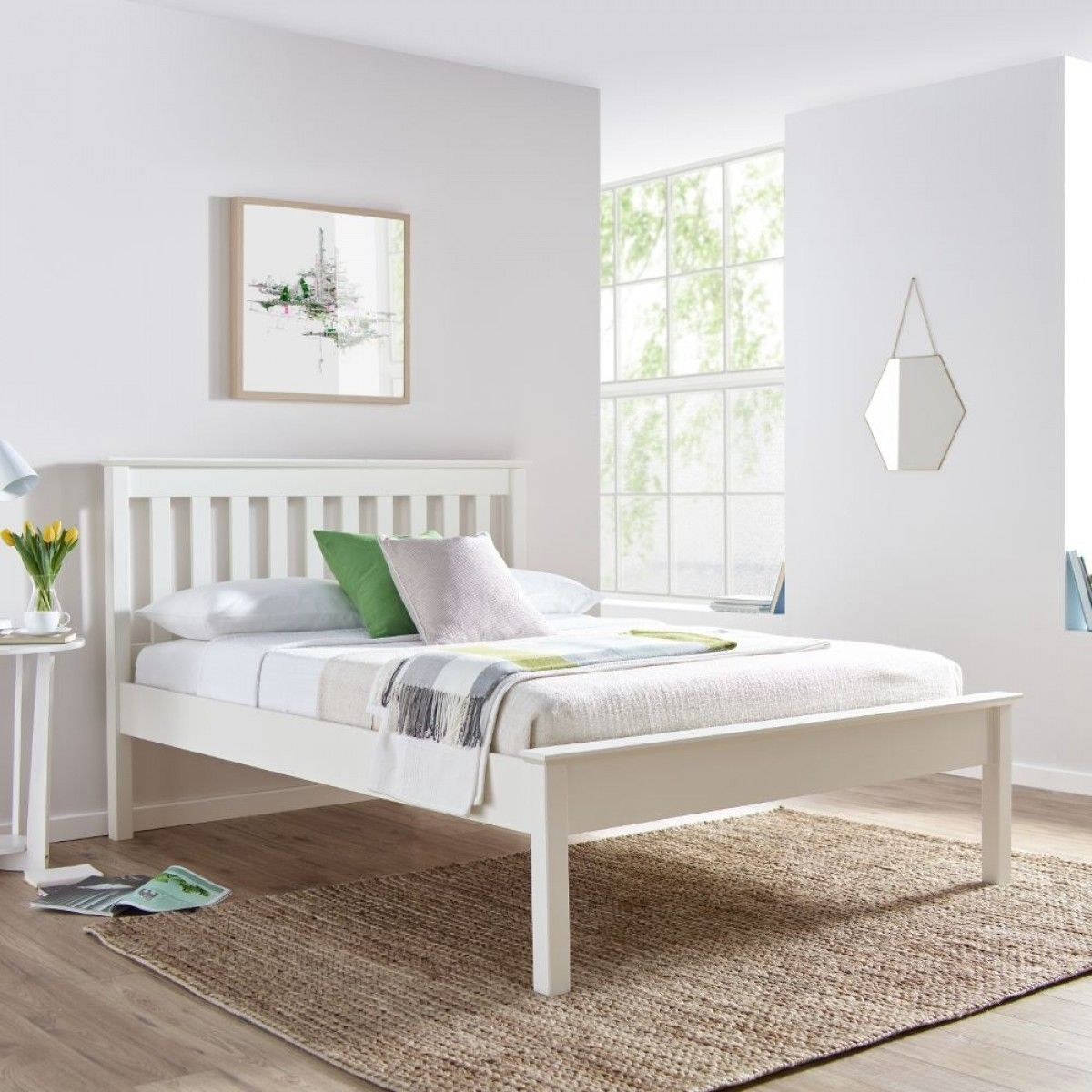 Grace White Wooden Low Foot End Bed White bed frame