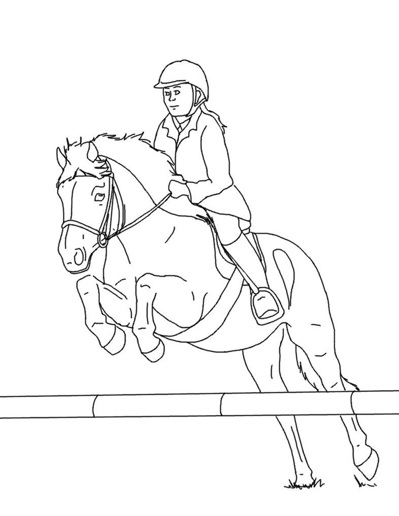 Horse And Rider Lines 03 Sports Coloring Pages Horse Coloring Pages Horse Rider [ 1017 x 786 Pixel ]