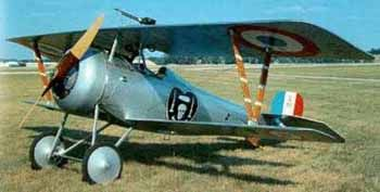 """Many of the French and British aces began their careers flying the Nieuport 17. The highly maneuverable """"Superbébé"""" was a larger, improved version of the Nieuport 11. Like its predecessor, it was initially equipped with a Lewis gun but was upgraded to a synchronized Vickers machine gun. Helping end Germany's domination of the air war, the Nieuport 17 easily outclimbed and outperformed the Fokker E.III. The superior design was so successful that German high command ordered it copied."""