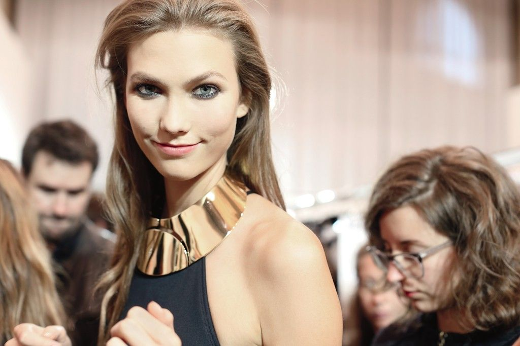 """Karlie at the sexiest Lanvin show I've ever seen, a collection that reminds me of Helmut Newton pics....Skin, black and gold is a strong combination for the sexiest Lanvin show and the best accessories ever."" -- Photographer, Delphine Achard"
