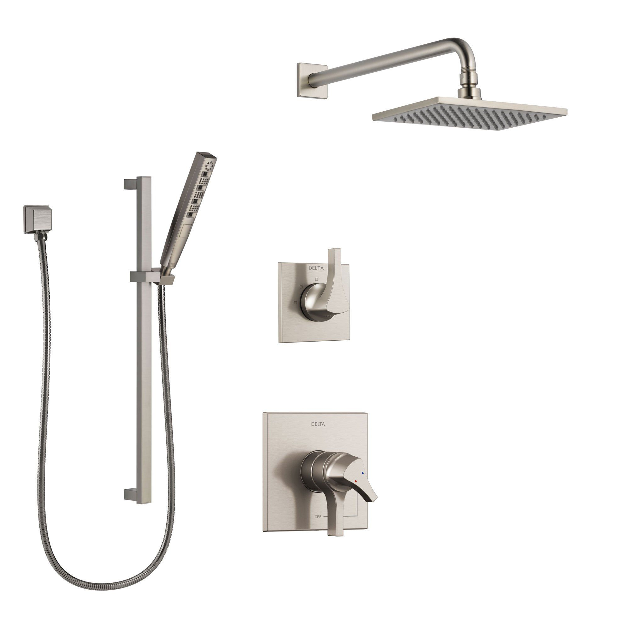 Delta Zura Stainless Steel Finish Shower System With Dual Control