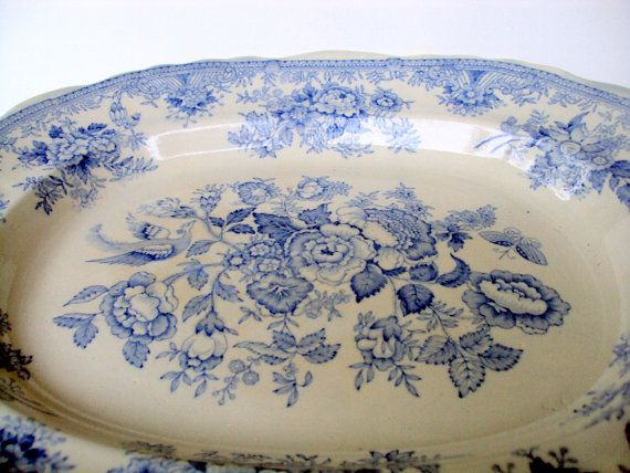 Antique Asiatic Pheasants,Poulson Brothers Ferrybridge,Yorkshire 1884 Blue and White English Porcelain,Dining and Serving,Medium Platter