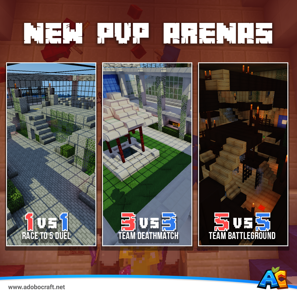 #AdoboCraft NEW PVP ARENAS! Open 24/7 Each winner(s) receives in-game money and experience for every battle!  1vs1 = Fist fight battle with random item spawns 3vs3 = Battle to the death, protect your team! 5vs5 = Highest team kill count, wins!  www.adobocraft.net
