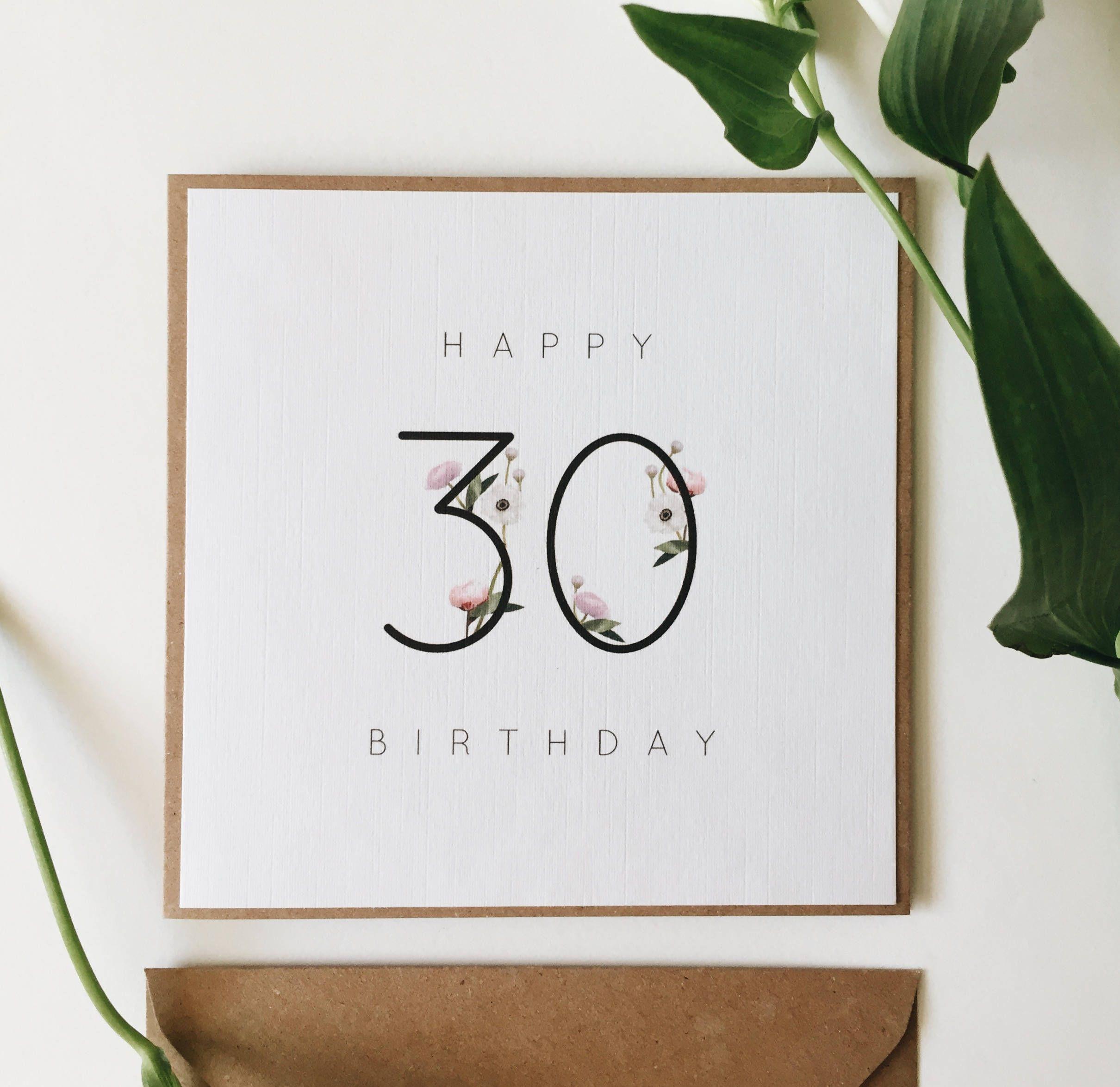 30th birthday card handmade birthday milestone card happy