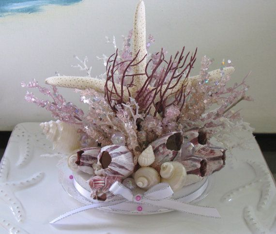 Starfish Barnacle Beach Wedding Cake TopperSeashell Topper Hi A Shimmering Underwater