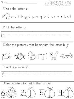A Teeny Tiny Teacher: Kindergarten Morning Work with letter b and number 6