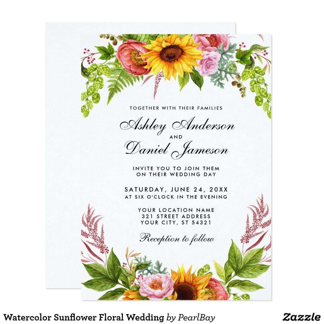 Watercolor Sunflower Floral Wedding Invitation Zazzle