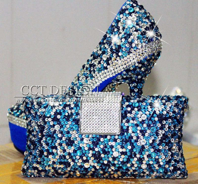 100 Handmade Customized Silver Sky Blue Royal Rhinestone Wedding Shoes And Matching Bags Free