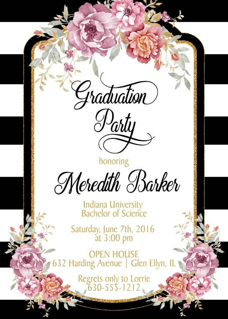 Black And White Stripes Graduation Invitation Graduación