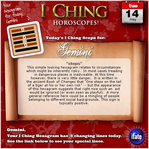 Click here to view your I Ching changing lines, Gemini   www