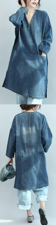 0286e472e1 baggy denim blue natural cotton dress plus size linen maxi dress 2018 V  neck long sleeve cotton clothing dresses