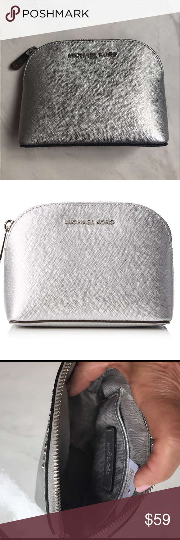 87bd6381d567 🆕Michael Kors  Cindy  Silver Leather Travel Pouch New Never used Small  Saffiano Leather