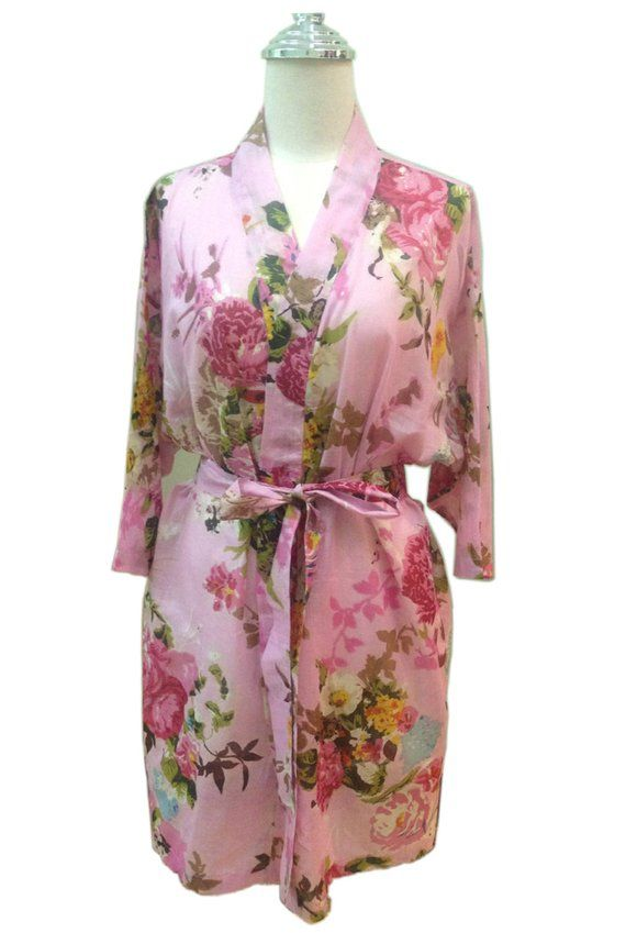 Set of 3 Light Pink Bridesmaids Robes Floral robe Bridal party robe Getting  ready robe Bride Kimono f5e5c7423