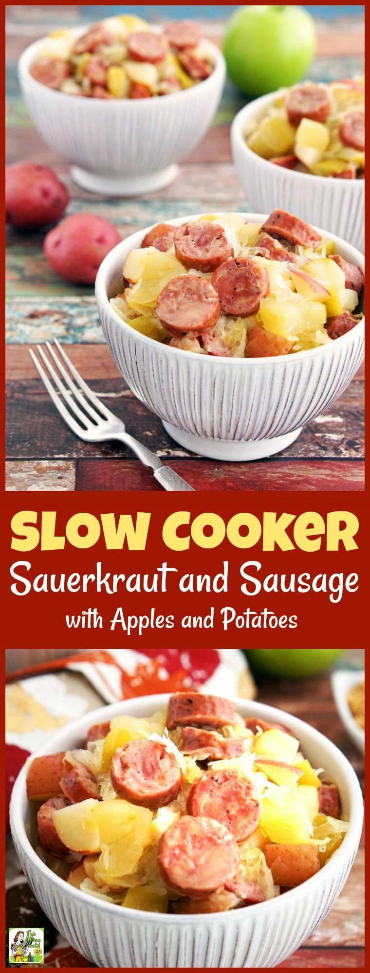 Slow Cooker Sauerkraut and Sausage with Apples and Potatoes #easypotluckrecipes Are you looking for a gluten free Crock-Pot recipe? This Slow Cooker Sauerkraut and Sausage with Apples and Potatoes takes only 15 minutes to prepare! Makes a great party or potluck recipe, too. #recipe #easy #recipeoftheday #healthyrecipes #glutenfree #easyrecipes #dinner #easydinner #sausage #sauerkraut #apples #potatoes #slowcooker #crockpot #easypotluckrecipes