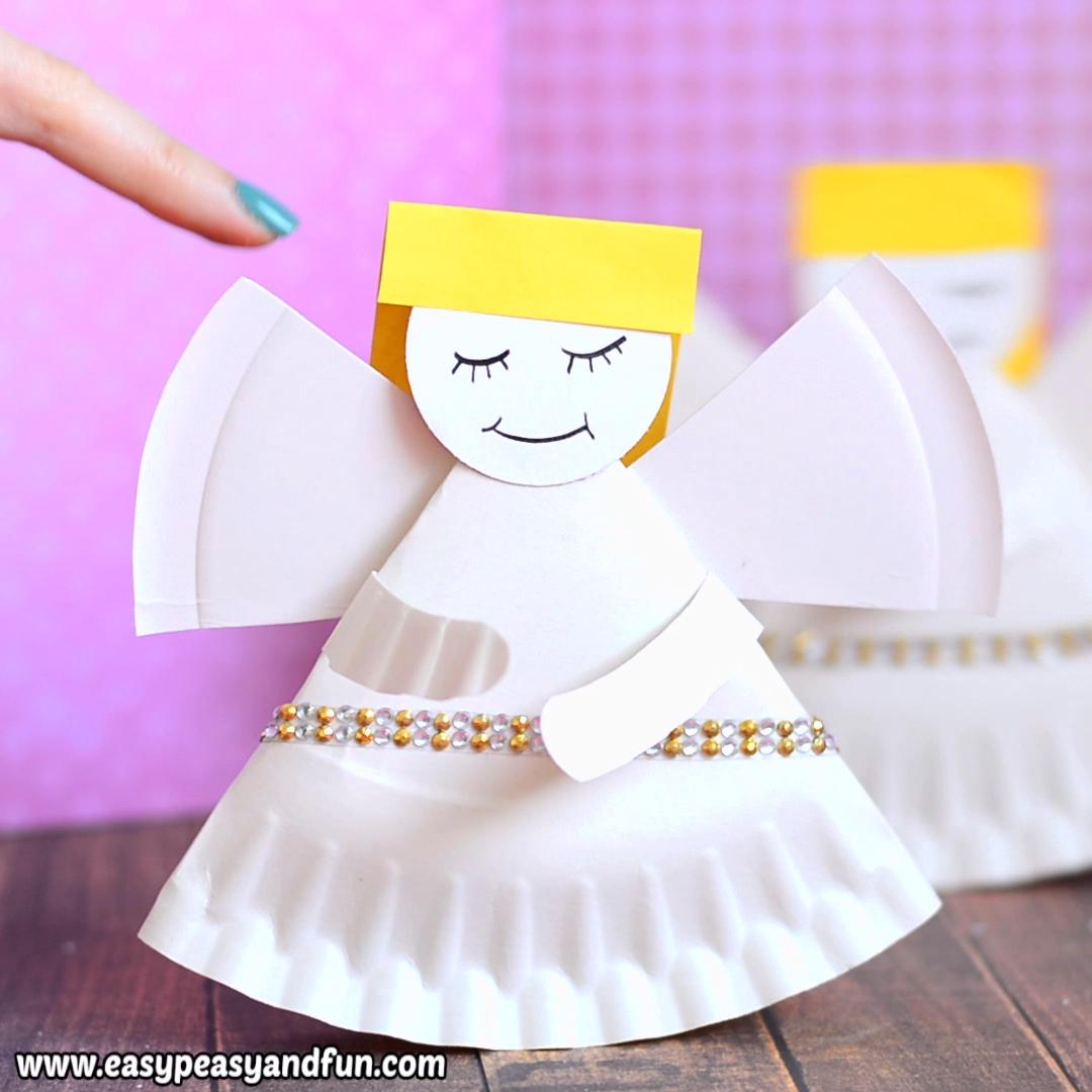 Rocking Paper Plate Angel Craft for Kids #craftsforkids