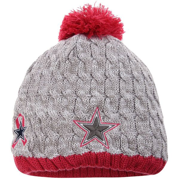 fbfff9a7c ... low cost womens dallas cowboys new era heather gray breast cancer  awareness knit hat 429b4 a45bd ...