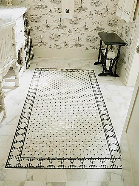 Faux Floor Rug In This Bathroom Mosaic Tile Rug Was Strategically Placed In Front Of The Vanity To Break Up An Expanse Of Marble Flooring And Provide