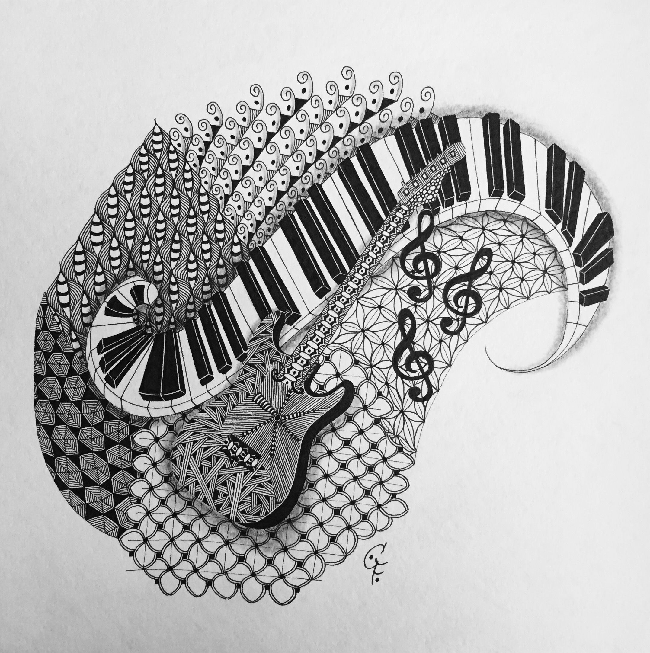 Music - Zentangle® Inspired Art Guitar and piano Patterns