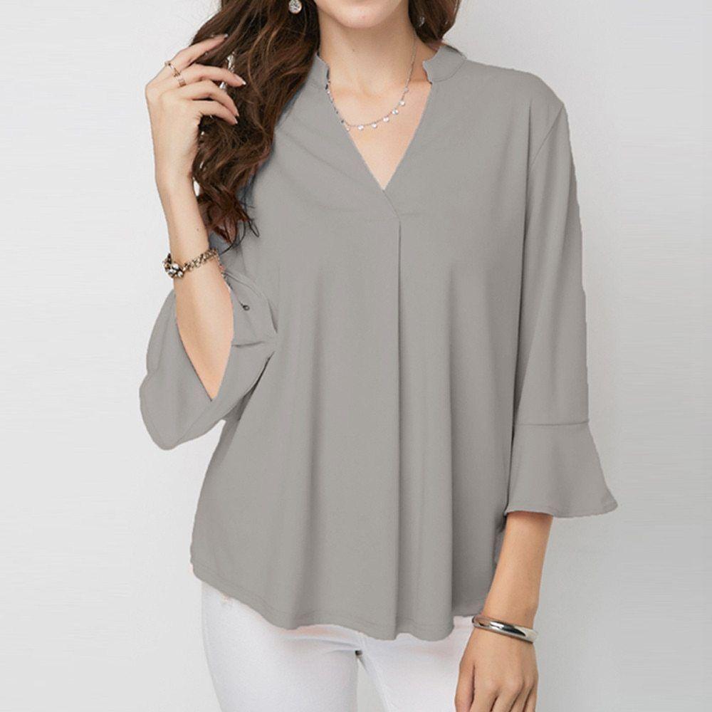 28bdc947a6ff8 2018 New Fashion Women V-Neck Solid Blouse Plus Size sleeve Blouse Top Shirt  plus