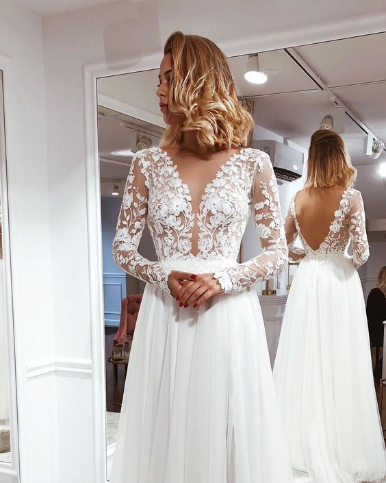 Einfache A Line V-Ausschnitt Open Back Elfenbein Lace Long Sleeves Brautkleider   – Wedding Dresses