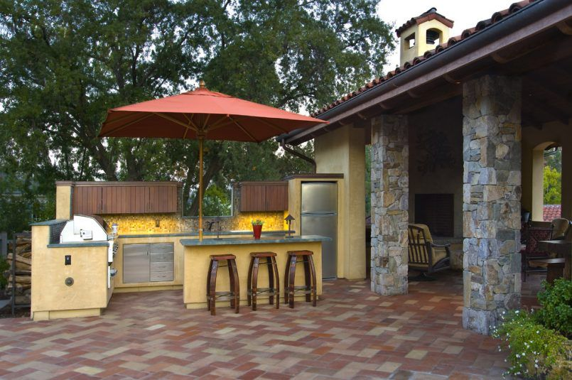 Backyard : Smith Hawken Outdoor Furniture Patio Mediterranean With Counter  Stools Covered Patio Backyard With An Outdoor Kitchen Mediterranean Style  For ...