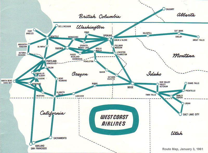 West Coast Airlines ALH US West Coast WC Pinterest West