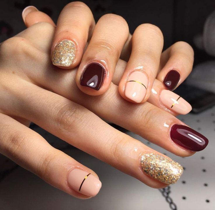 Gold and dark red nails - #nails #nail art #nail #nail polish #nail ...