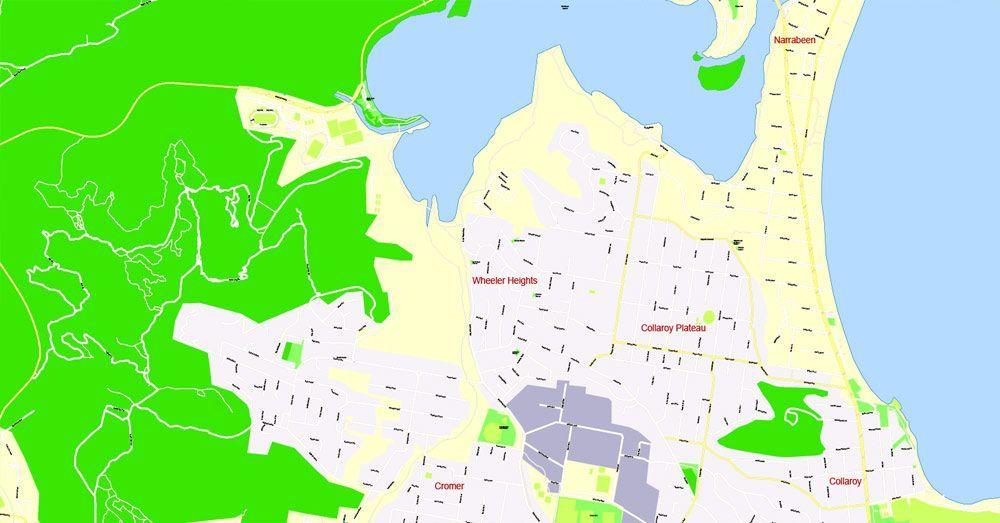 Sydney Printable Map, Australia, exact vector City Plan editable ...