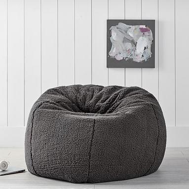Sherpa Charcoal Bean Bag Chair In 2020 Bean Bag Chair Retro Dining Chairs Bean Bag Chair Pottery Barn