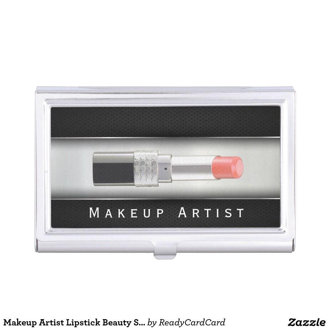 Makeup Artist Lipstick Beauty Salon Black Metal Business Card Holder ...