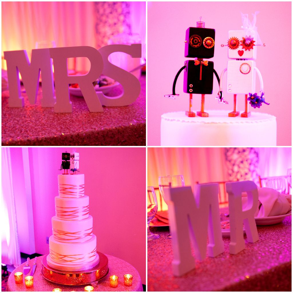 Tiered Wedding Cake with Robot topper. Purple and Gold Wedding ...