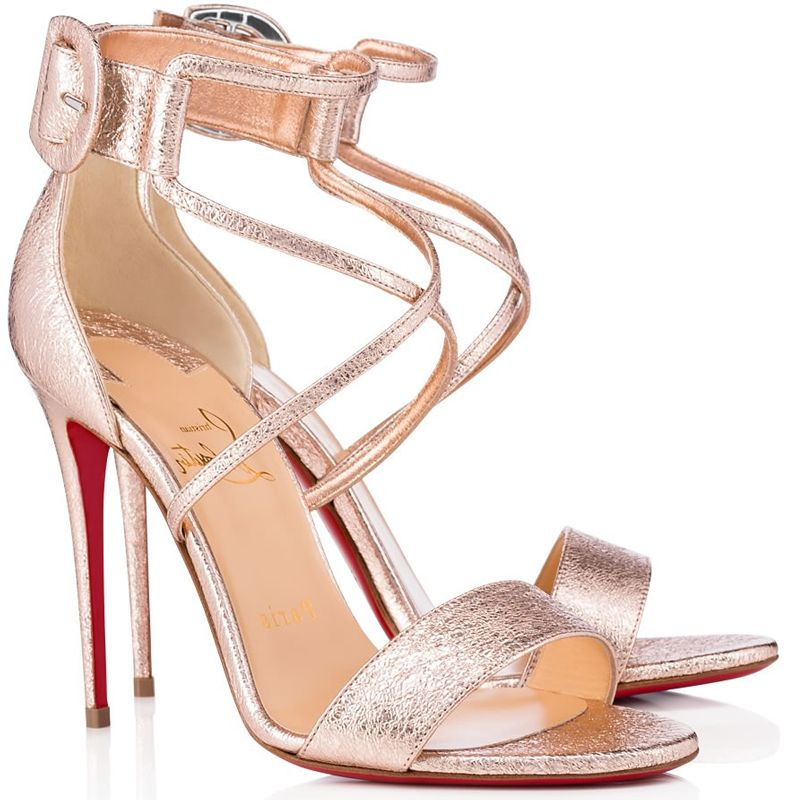 1f5a99d1d316 Christian Louboutin Choca Rose Gold Cracked Leather Sandal