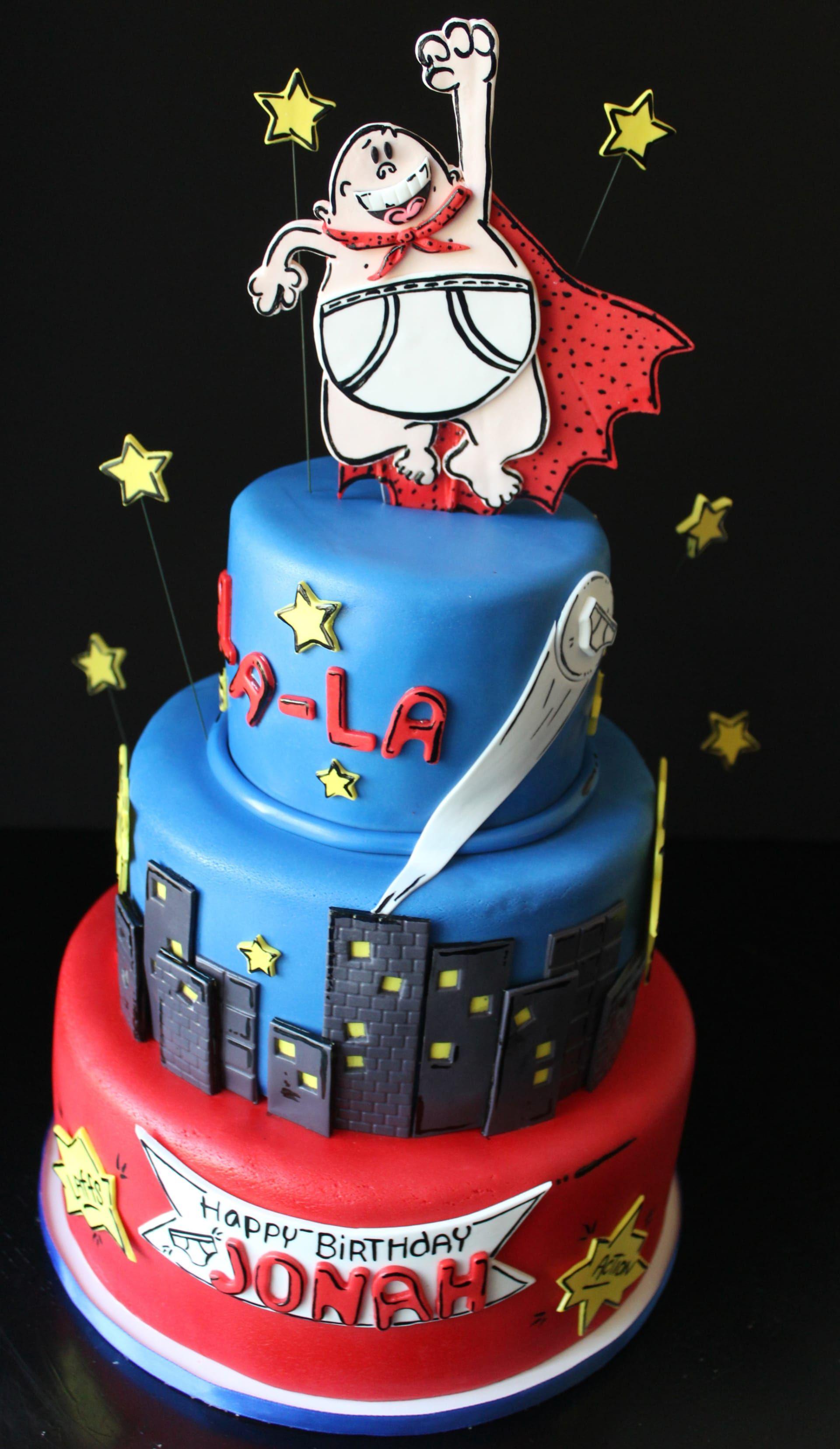 Captain Underpants Cake, Cityscape Cake, Comic Book Cake