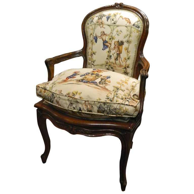 Great French Carved Walnut Fauteuil Chair