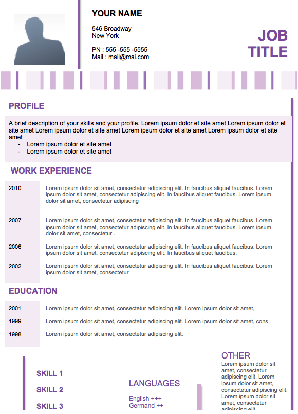 Word 2010 Resume Template Professional Resume Template Modern Examples Resumes  Home Design