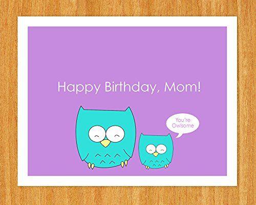 01 Birthday Card For Mom Cute Owl Happy Birthday Mom Mother Mum