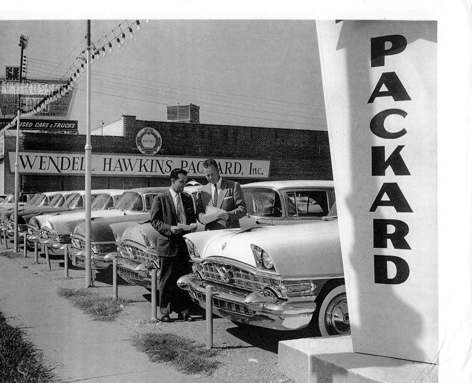 1956 Packard dealer lot full of new Packards Packard cars