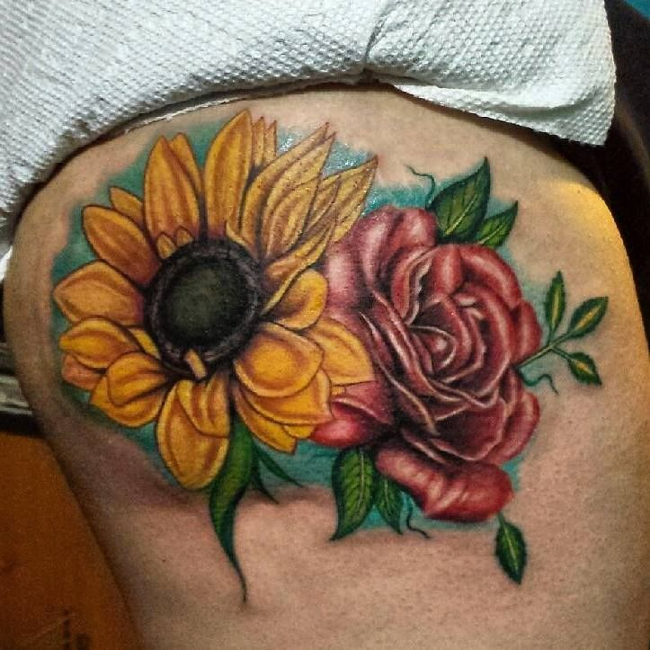 Red Rose And Realistic Sunflower Tattoo Tattoos Pinterest