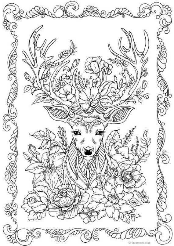 Fantasy Deer - Printable Adult Coloring Page from Favoreads (Coloring book pages for adults and kids, Coloring sheets, Coloring designs) #adultcoloringpages