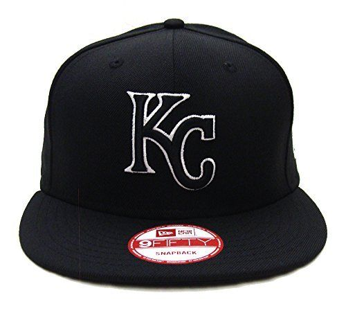 713b2fec8bd1c Kansas City Royals New Era Black Logo White Outline Snapback Cap Hat Black