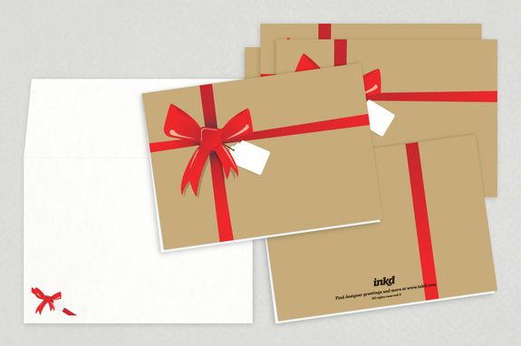 Gift Wrapped Holiday Greeting Card Template - A cute and classic - greeting card templates