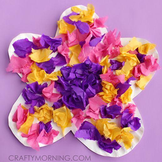 Make a paper plate flower craft using tissue paper with your kids make a paper plate flower craft using tissue paper with your kids fun spring or mightylinksfo