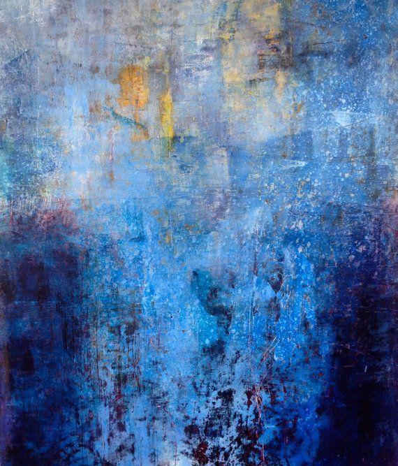 Original huile et cire peinture abstraite dans nombreuses for Peinture mural original