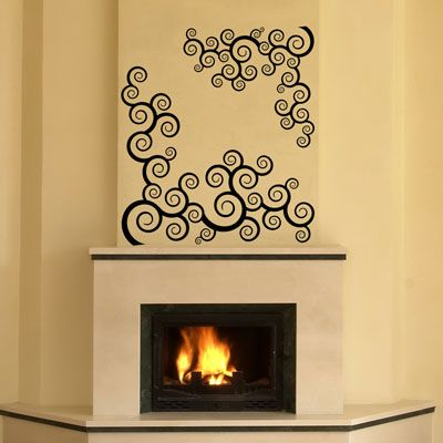 Swirls Over Fireplace Wall Decal {dalidecals.com}