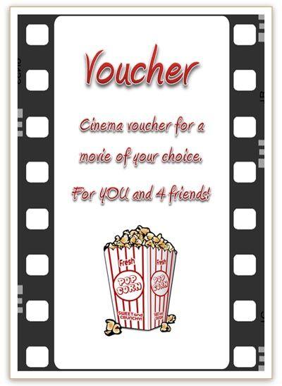 Free Cinema Voucher Template Free printable Pinterest Free
