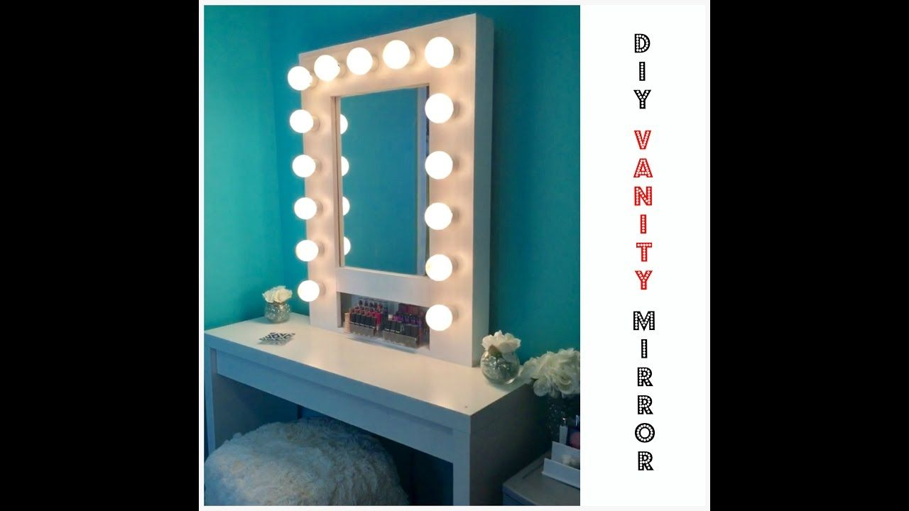 DIY Vanity Mirror With Lights For Under $30! Like Vanity Girl Hollywood -  YouTube   Makeup   Pinterest   Vanities, Lights And 30th