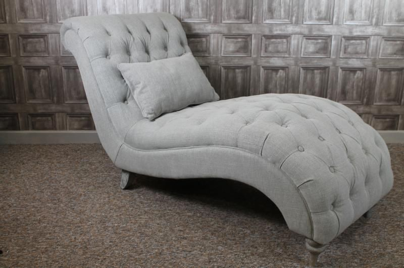 French Style Buttoned Chaise Longue Sofa In Grey Linen Sofas
