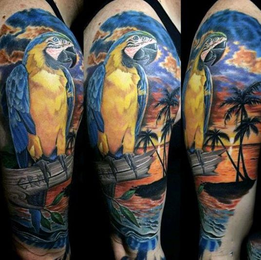 75 beach tattoos for men serene sandy shore designs for Tropical themed tattoos