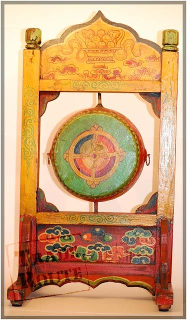 Hand Painted Pine Wood And Leather Prayer Drum From Tibet China